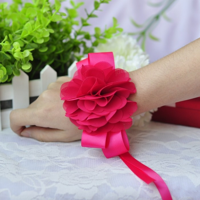 10pcs/lot Rose red bridal wedding flower wrist flower bridesmaid hand decoration for wedding dance supplies free shipping