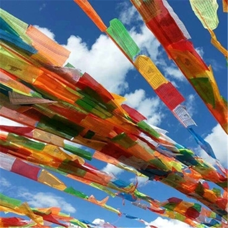 Farverige Kong Kim Mantra Bønner Flag Senki Wind Horse Flag 5 Meter 20pieces / string Buddhist Ceremony Flag Tibet Lung Ta Banner