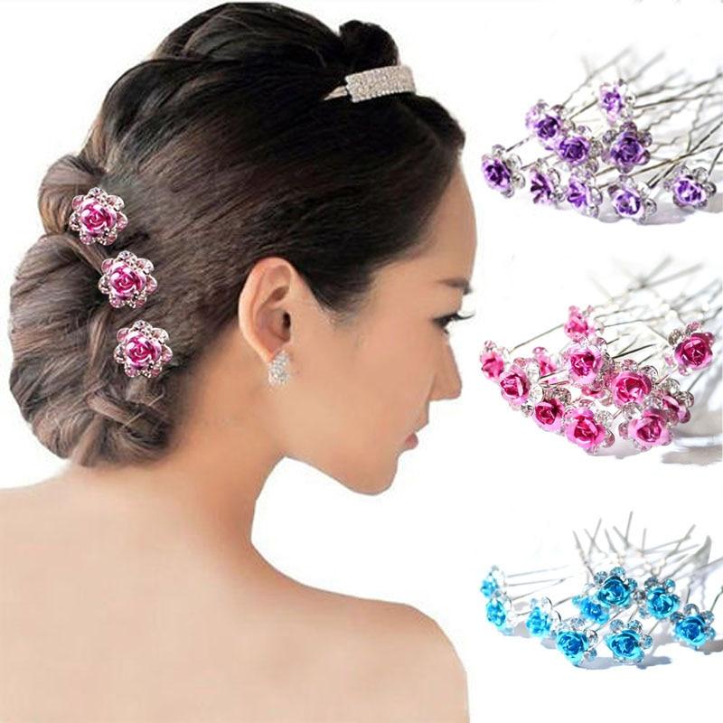 20Pcs/ Lot Women Wedding Bridal Clear Crystal Rhinestone Rose Flower Hair Pin Clips Barrettes Hair Accessories Jewelry   Headwear