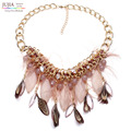 2017 new Wholesale Chain chunky Choker statement necklaces fashion feather pendant Necklace for women