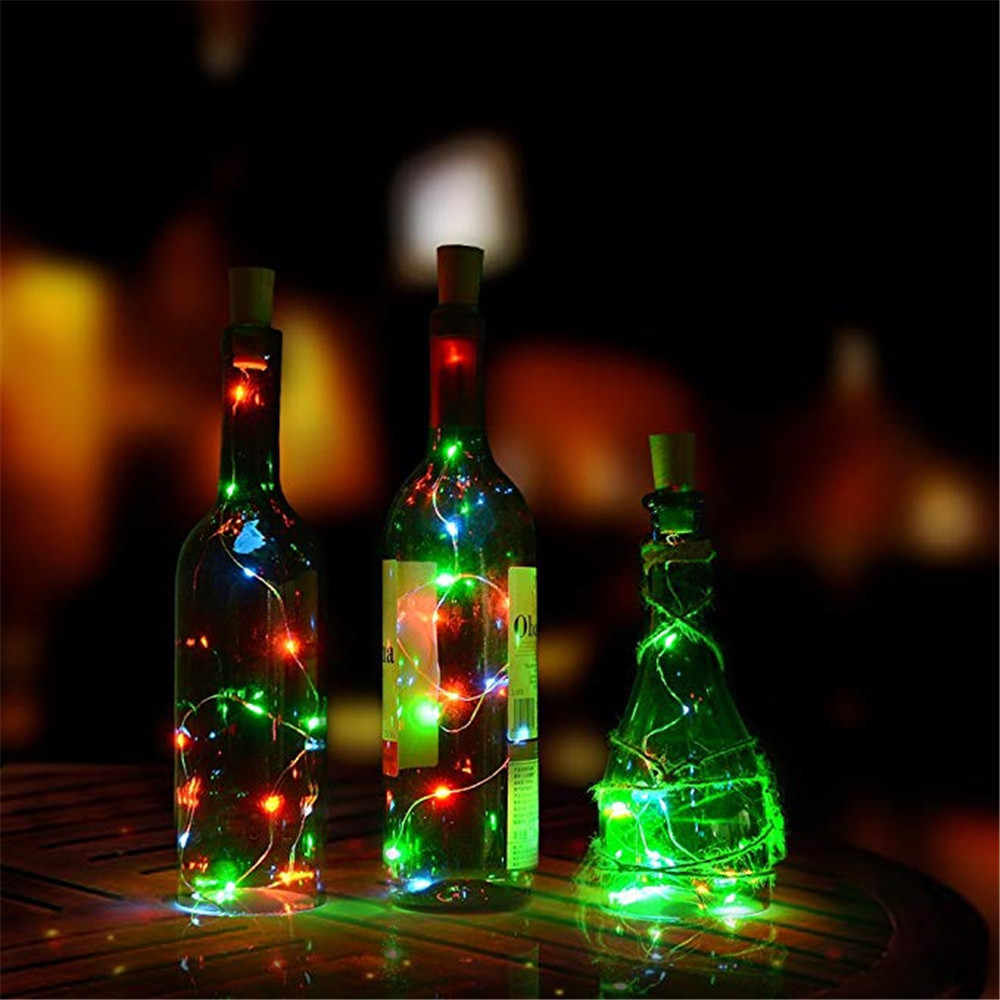 2 متر LED الطوق النحاس سلك كوركر سلسلة الجنية أضواء للزجاج الحرفية زجاجة السنة الجديدة/عيد الميلاد/عيد الحب الزفاف الديكور