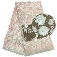 (5 m/szt) wysokiej jakości koronki tkaniny Afryki 3D kwiaty tulle biały różowy Francuski koronki tkaniny netto z koraliki dla partyjnej sukni FLS76