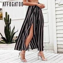 5119f7767f Affogatoo Sexy side podział szerokie spodnie nogi Kobiet plaży latem wysokiej  talii spodnie w paski Elastyczne