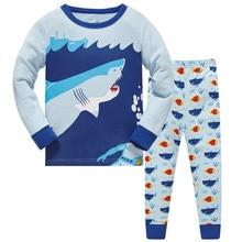 2019 children Autumn Pajamas clothing Set Boys Shark Cartoon Sleepwear Suit Set kids long-sleeved+pant 2-piece baby clothes стоимость
