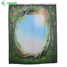 Jungle Tür Blume Duschvorhang 180×180 cm/150*180 cm Wasserdicht Polyester Duschvorhang Badezimmer Dekor grün Bäume