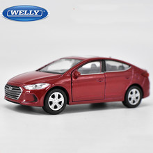 Welly 1:36 Scale Hyundai Elantra Diecast Car Model Toy With Pull Back Educational Collection for Children's Birthday Gifts(China)