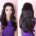 Free Shipping ! Fashion Women Lady Party Synthetic Hair 60cm Black Long Wavy Curly Wig