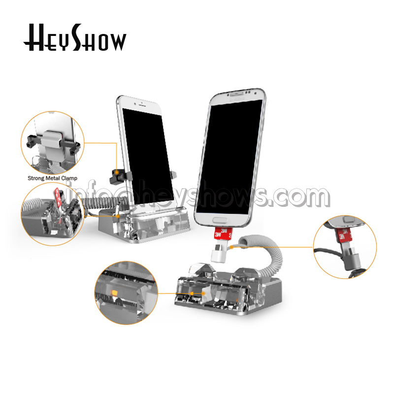 Acrylic Mobile Phone Burglar Alarm Anti Theft For iphone Security Display Stand Alarm System With Claw Remote Control For Retail