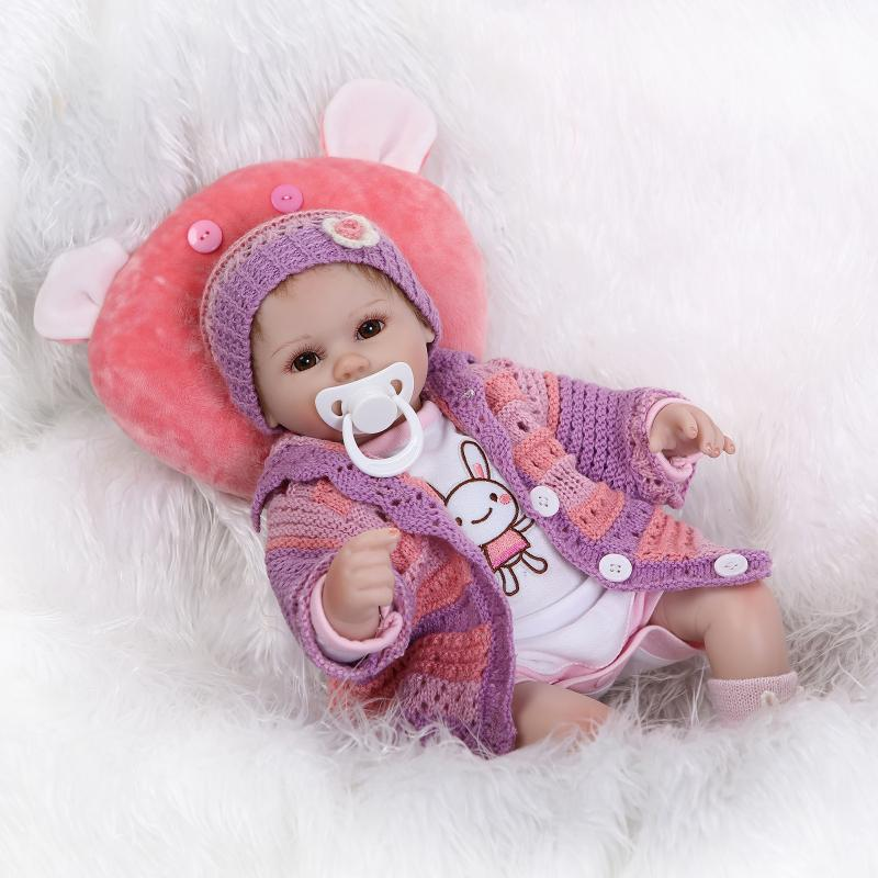 Nicery 16-18inch 40-45cm Reborn Baby Doll Magnetic Mouth Soft Silicone Lifelike Girl Toy Gift for Child Christmas Purple Clothes nicery 18inch 45cm reborn baby doll magnetic mouth soft silicone lifelike girl toy gift for children christmas pink hat close