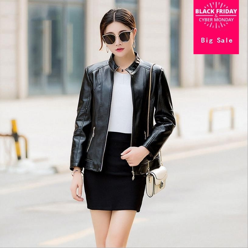 XL-6XL Plus Szie Women PU   leather   jacket coat 2018 autumn new fashion jacket female slim was thin full sleeve PU outwear L1134