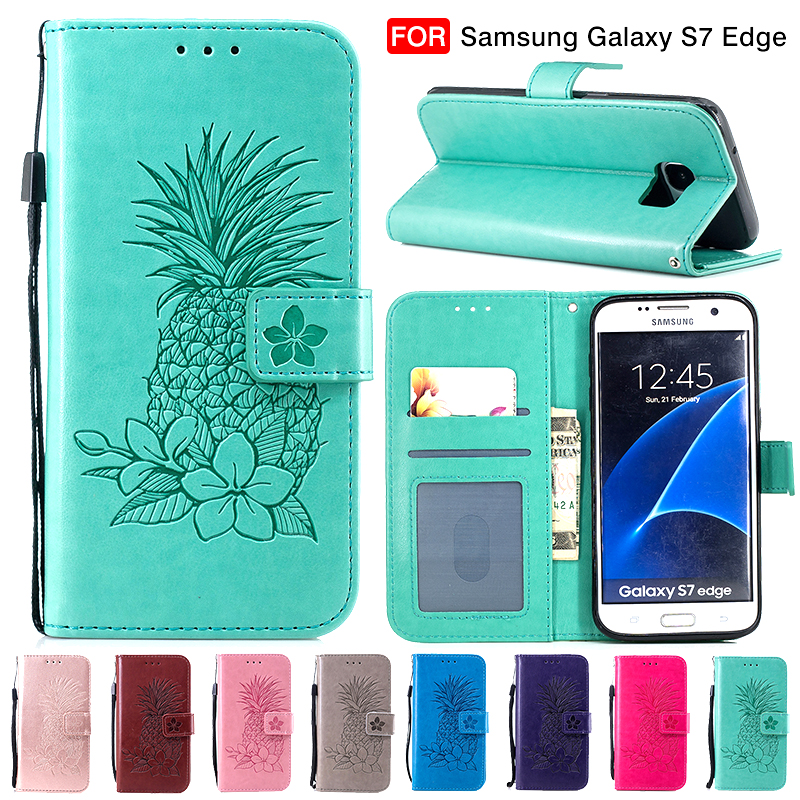 Pineapple Leather Wallet <font><b>Case</b></font> for <font><b>Samsung</b></font> Note 9 S8 S9 Plus S7 S6 <font><b>Edge</b></font> Flip Cover for iPhone XS Max XR X 8 7 6 <font><b>6S</b></font> Plus 5 5S SE image