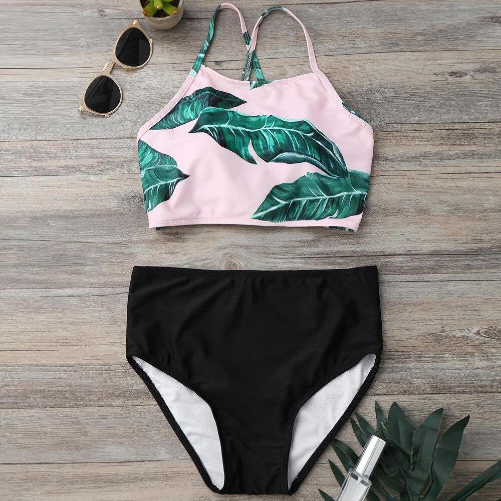2018 Sexy Women Falbala High-waisted Bikini Set Push-Up Swimsuit Bathing Bikini Set Swimsuit Swimwear New Hot Summer