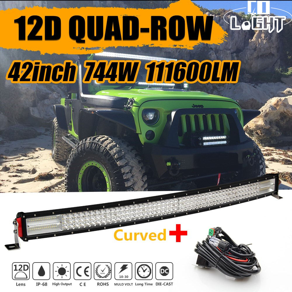 CO LIGHT 12D 42 Inch LED Light Bar 744W Auto Work Driving light for Off Road Boat Car Truck 4x4 Combo Led Beams Led Bar 12V 24V 300w 4d led light bar combo car led work light 29 inch off road bar light driving lamp 4x4 suv awd truck trailer boat van camper