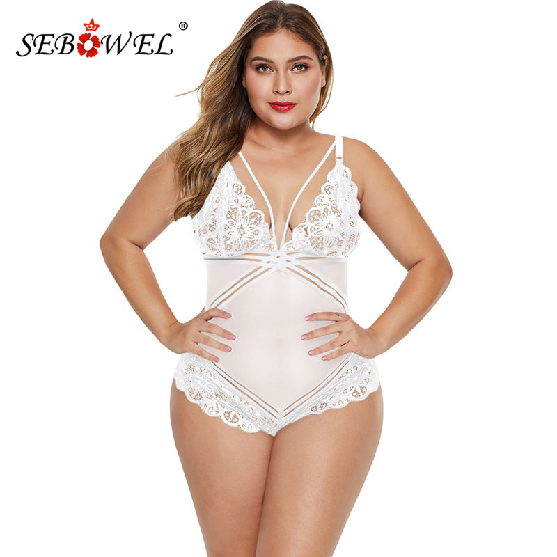 SEBOWEL Plus Size Floral Lace Deep V Bodysuits Woman Black/White 2019 Female Backless Body Top Clothes Lady Sleeveless Bodysuit