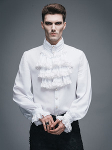 Image 5 - Fashion Punk New Gothic Party Steampunk Black Top Evening Shirt Retro Palace Personality Pure White Men Casual Shirt Blouse