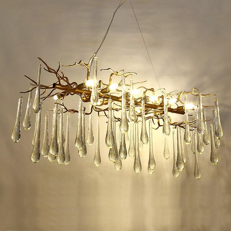 Lámpara de cristal francés candelabro de sala LED decoración de ramas de árbol candelabro hotel restaurante luces