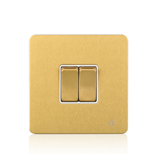 Cognag Stainless Steel 10AX 2 Gang 1 Way British Standard Wall Switch Light Plate high quality