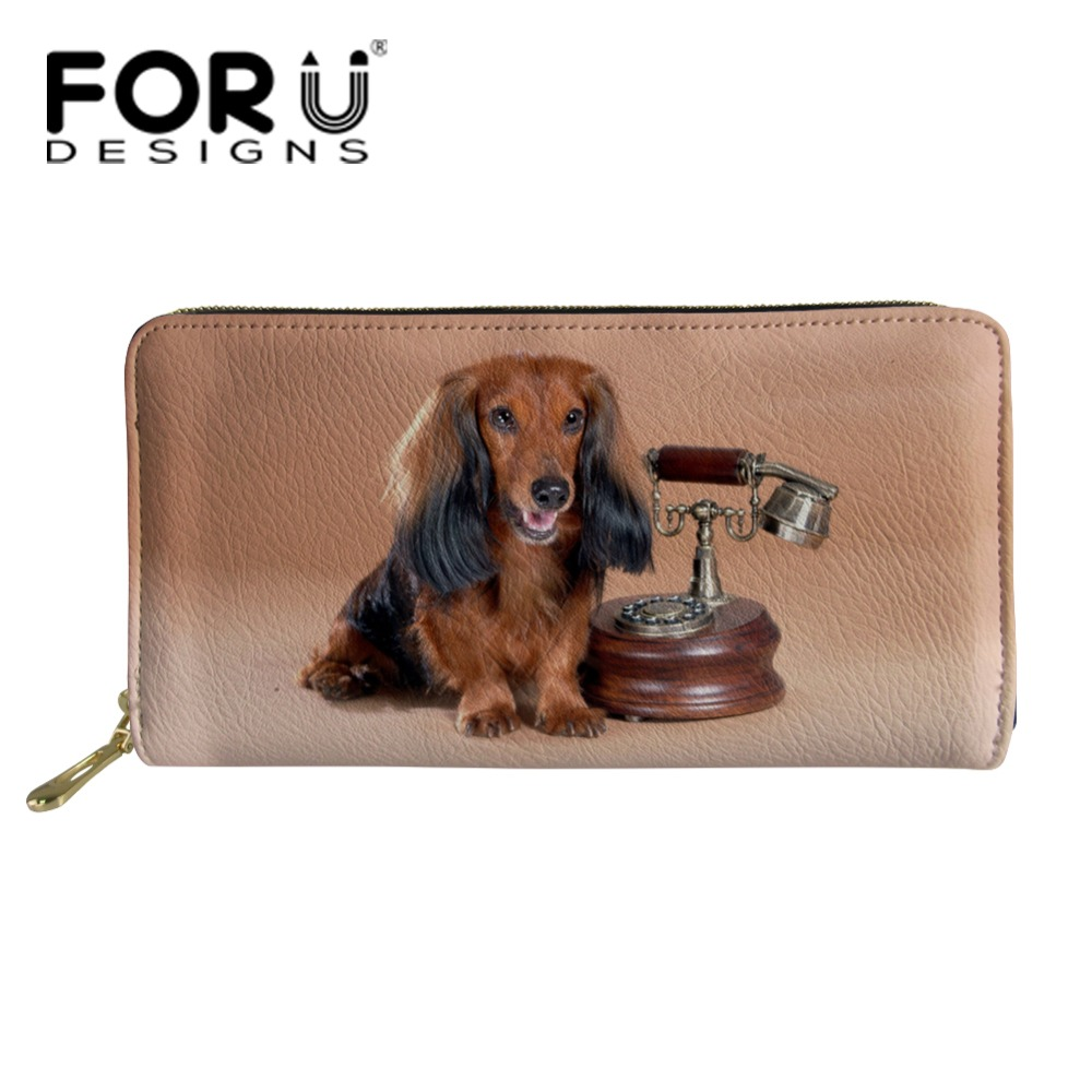 FORUDESIGNS Women Wallet Purse Dachshund Printed Female Long Wallets Pouch Leather Handbag Ladies Coin Purses Card Holder 2018 in Wallets from Luggage Bags