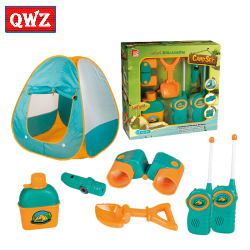Children's tent 6-piece set with walkie-talkie telescope wild beach play house game toy tent, and children interactive toys цены