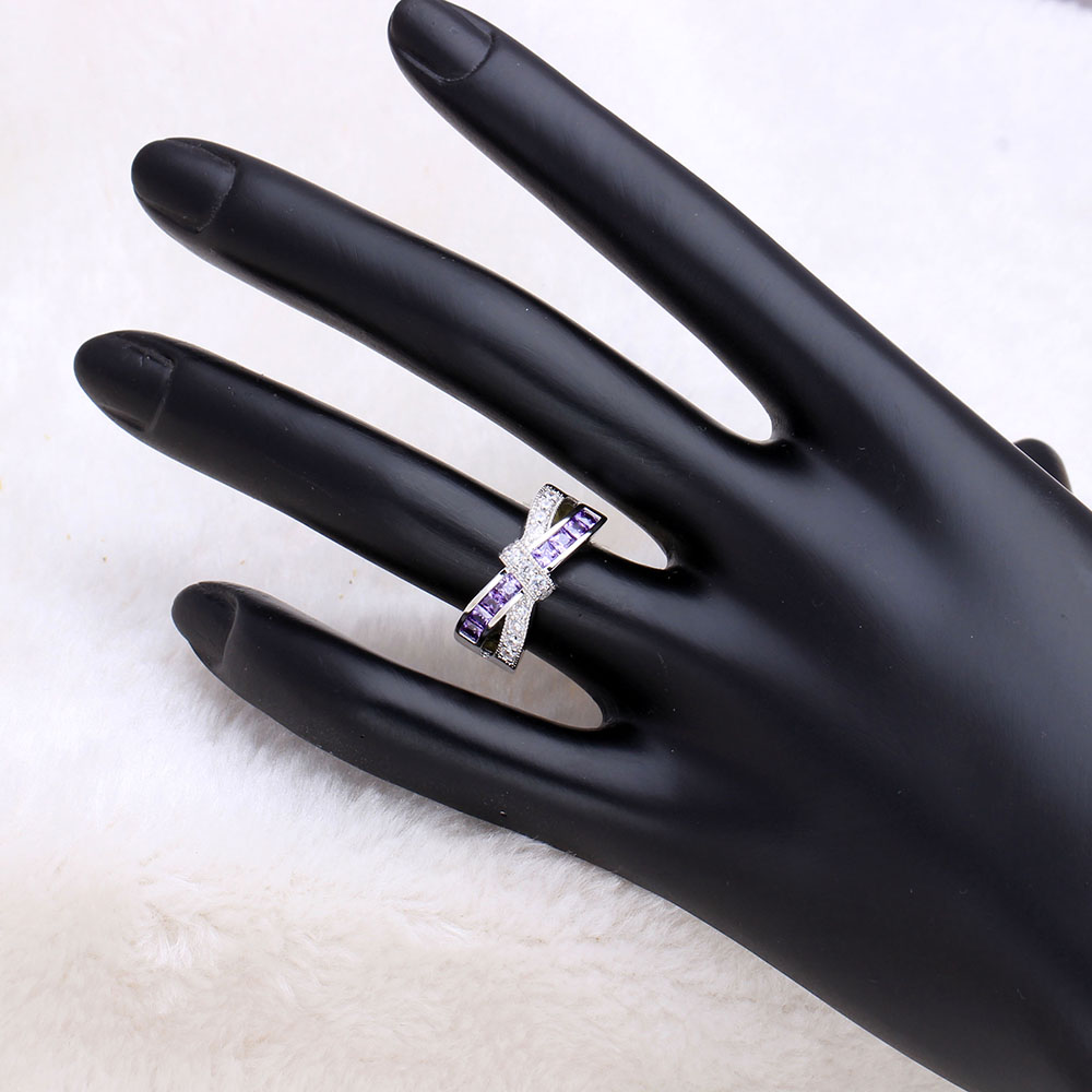 Amethyst Cross Finger Paved Zircon Wedding Engagement Ring 4