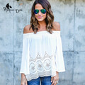 WomensDate 2017 Hot Sale Spring Women Tops Shirt Cotton Sexy Slash Neck Strapless Lace T-Shirt Tee