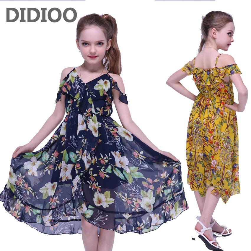Kids Dresses For Girls Summer Chiffon Long Beach Dress Off Shoulder Floral Print Girls Bohemian Dress 2 4 8 10 12 Years Sundress long dress new fashion trend bohemian dress for girls beach tunic floral beach maxi dresses kids birthday party princess dresses