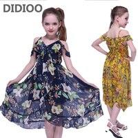 Kids Dresses For Girls Summer Chiffon Long Beach Dress Off Shoulder Floral Print Girls Bohemian Dress 2 4 8 10 12 Years Sundress