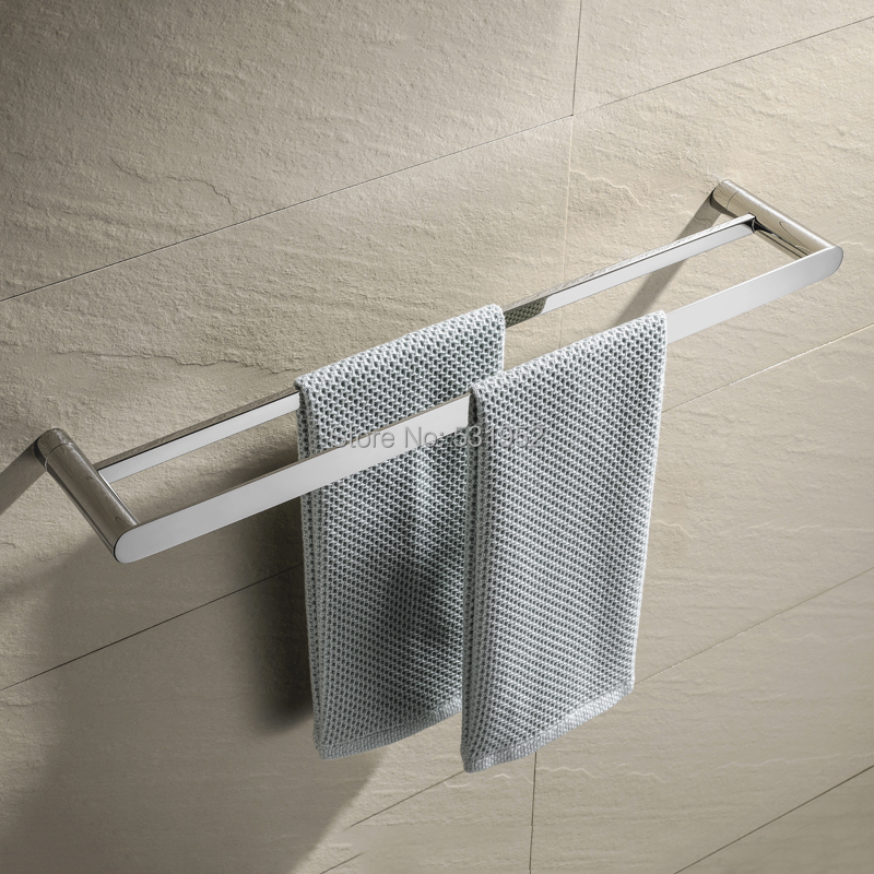 24 Inch SUS304 Stainless Steel Double Bath Towel Bar Polished Finish Towel Holder Wall Mount Towel Rack for Bathroom viborg deluxe sus304 stainless steel bathroom double towel bar towel rail holder hanger satin nickel brushed