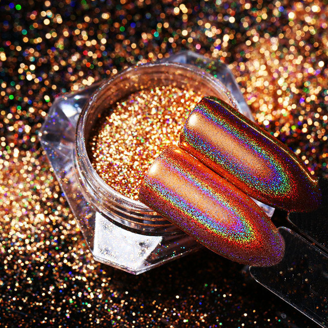 Polvo de brillo de uñas holográfica de champán bonito nacido espejo de oro rosa arcoíris arte de uñas Polvo de pigmento cromado 0,8g Gel UV polaco