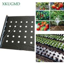 95 см * 50 м 5 отверстий 0,03 мм черная мульчирующая пленка садовые Цветочные растительные растения для рассады пластиковая перфорированная полиэтиленовая пленка мульчирующая мембрана