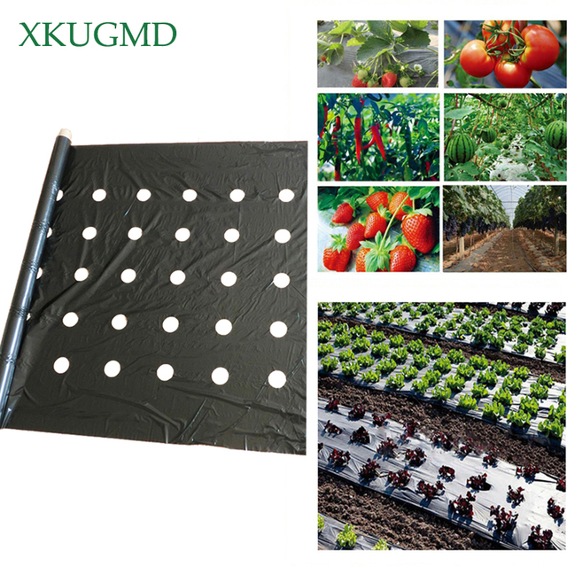 95cm*50m 5Holes 0.03mm Black Mulch Film Gardening Flower Vegetable Seedling Plants Plastic Perforated PE Film Mulching Membrane
