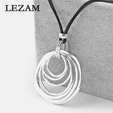1pcs Fashion Necklace Boho Bohemia Multi-Circle Lagenlook Pendant Black Long Faux Velet Suede Cord Sweater Necklace Jewelry цена 2017
