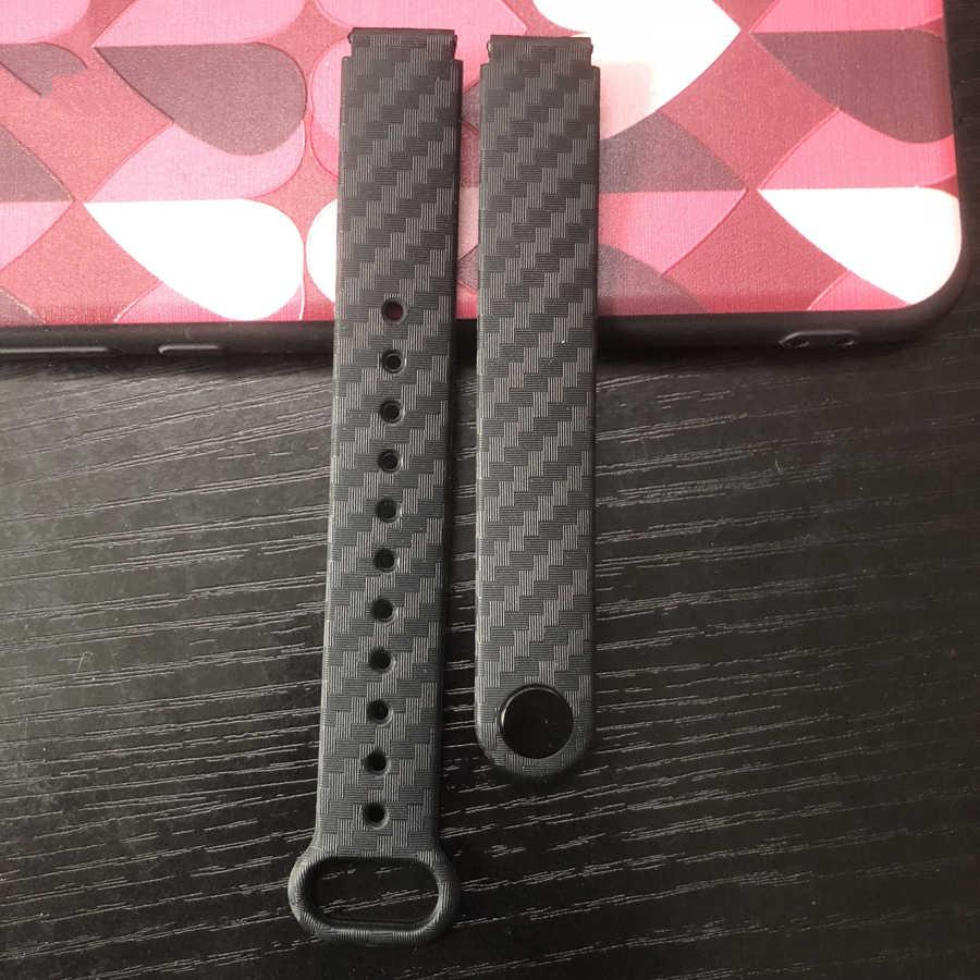 Bracelet de montre en carbone Firber sangles bracelets de montre 12mm accessoires de montre remplacement ceinture bande Bracelet pour Xiao mi bande 2 3