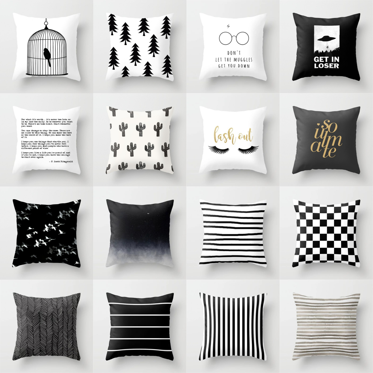 Black and White Cushion Cover Geometric Polyester Throw Pillow