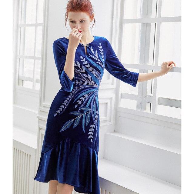 5d274ebb2e PIXY Blue Midi Velvet Mermaid Dress Embroidery Print Vintage Ladies Dresses  Birthday Vestidos Love and Lemonade
