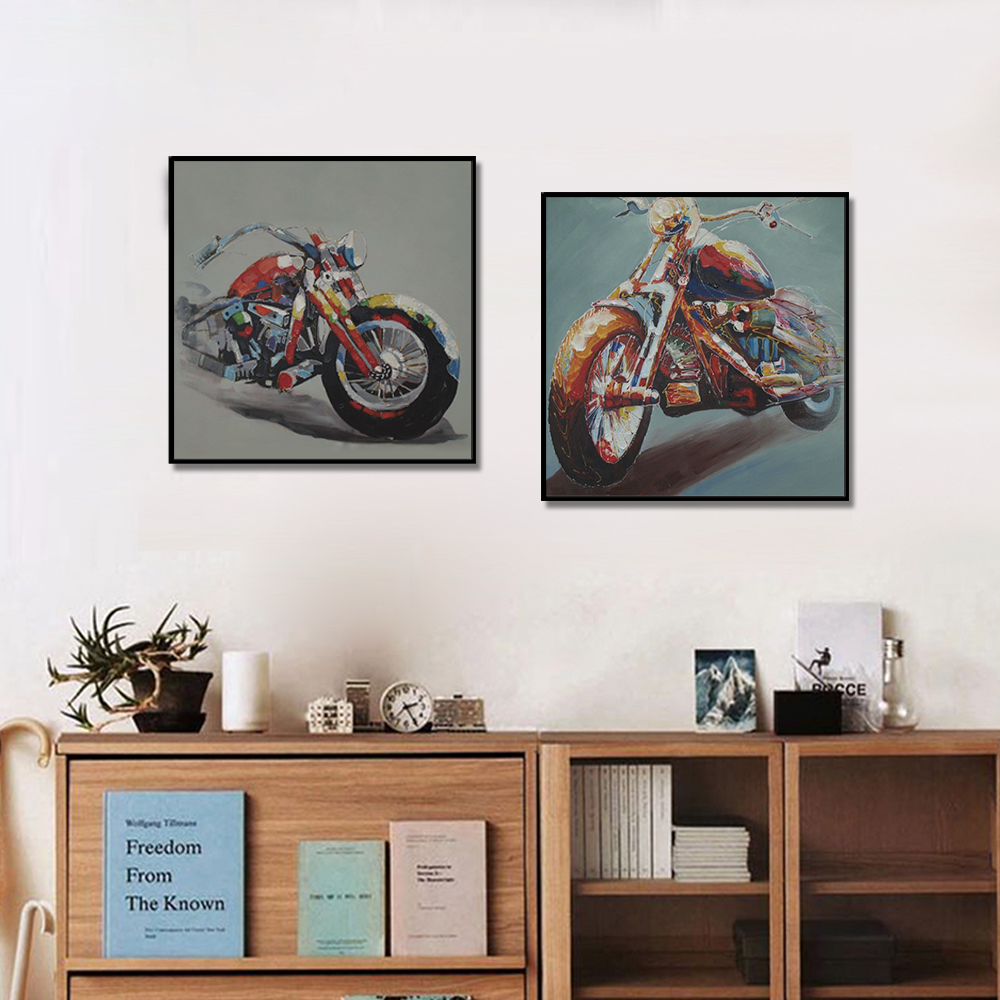 Unframed Two-Picture Canvas Painting Motorcycle Prints Wall Pictures For Living Room Wall Art Decoration 2018 Dropshipping