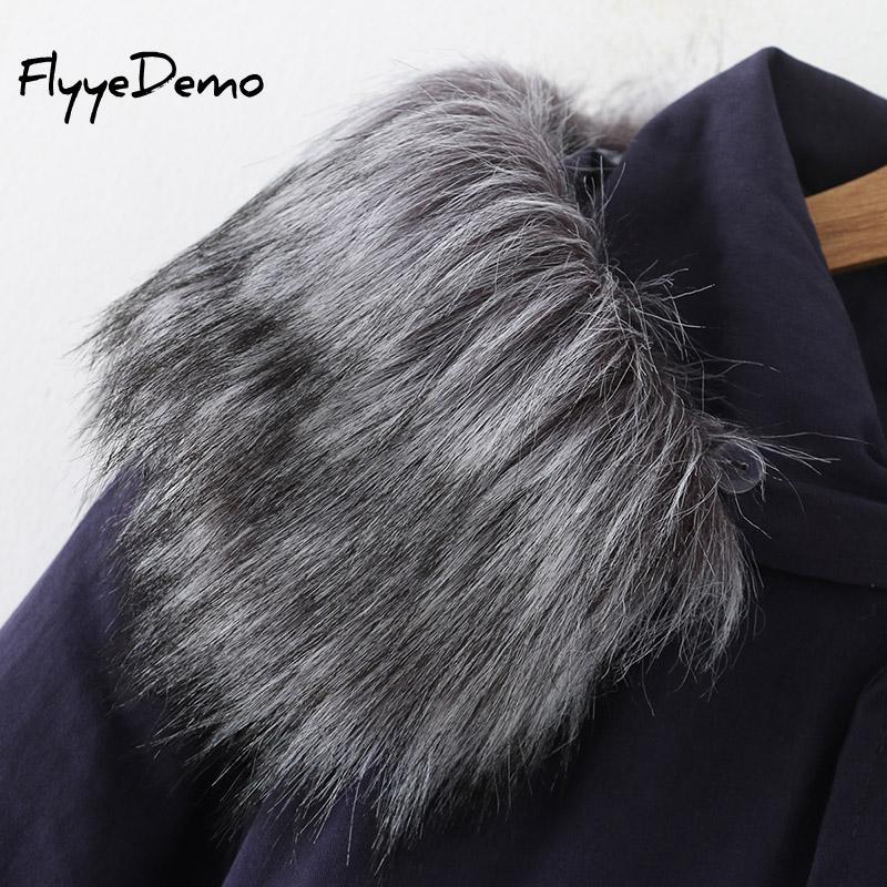 Femmes Parkas Blue Coton De Plus Femelle La Épais Manteau 2018 Nouvelle Taille Outwear Fourrure Chaud Veste Broderie D'hiver 586fqw1xTt