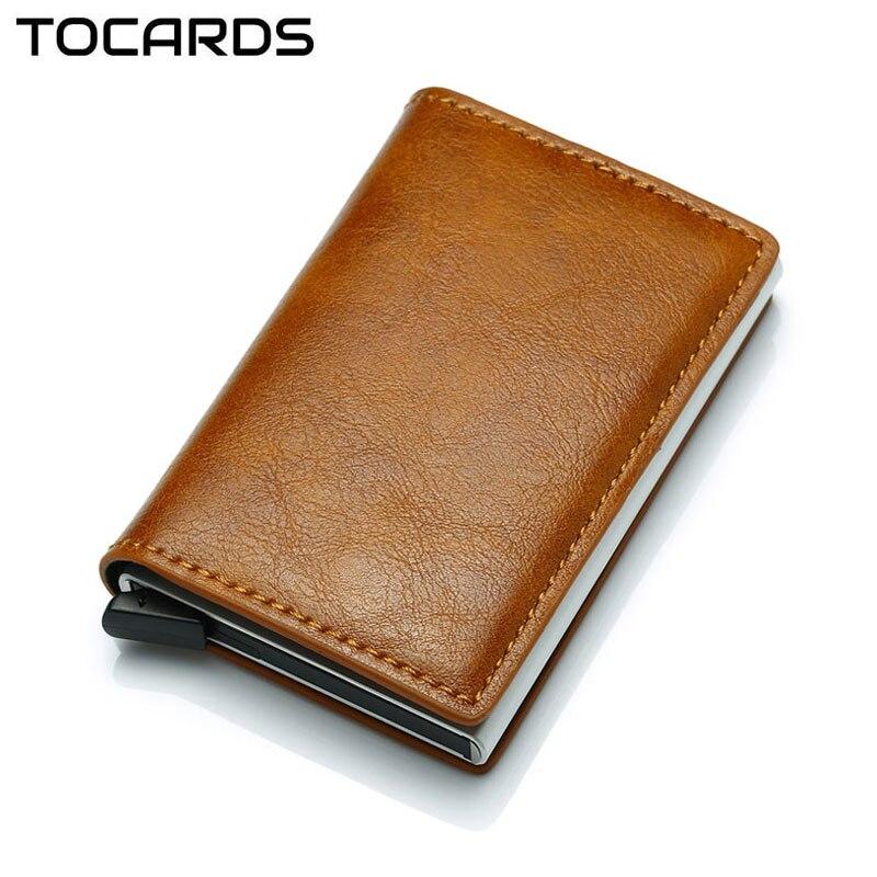 2019 Hot Business Credit Card Holder Men Multifunction Automatic Aluminium Alloy Leather Cards Case Men Mini Wallet Slim Purse