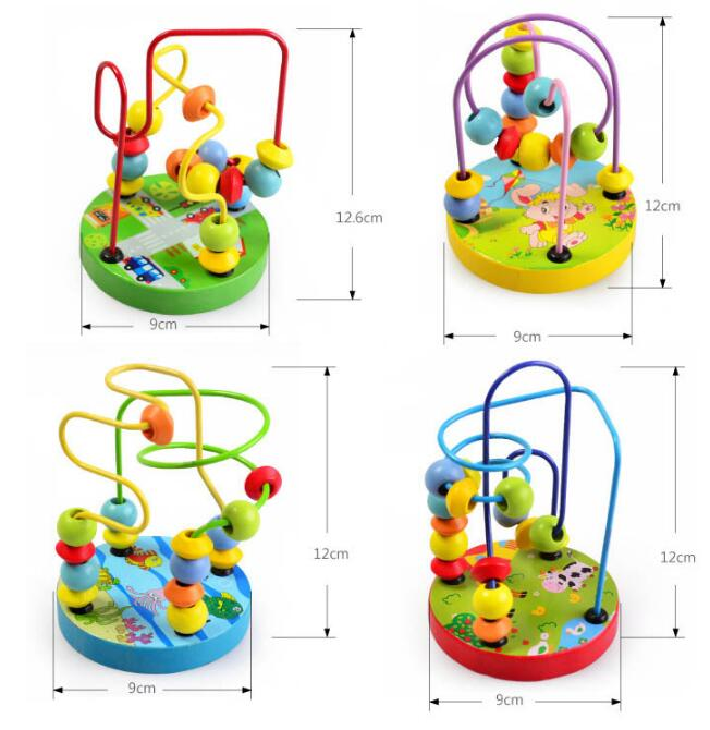 Image 2 - Montessori Beads Toy For Baby Kids Colorful Wooden Mini Around Beads Wire Maze Math Toy Toddler Educational Model Christmas Gift-in Baby Rattles & Mobiles from Toys & Hobbies