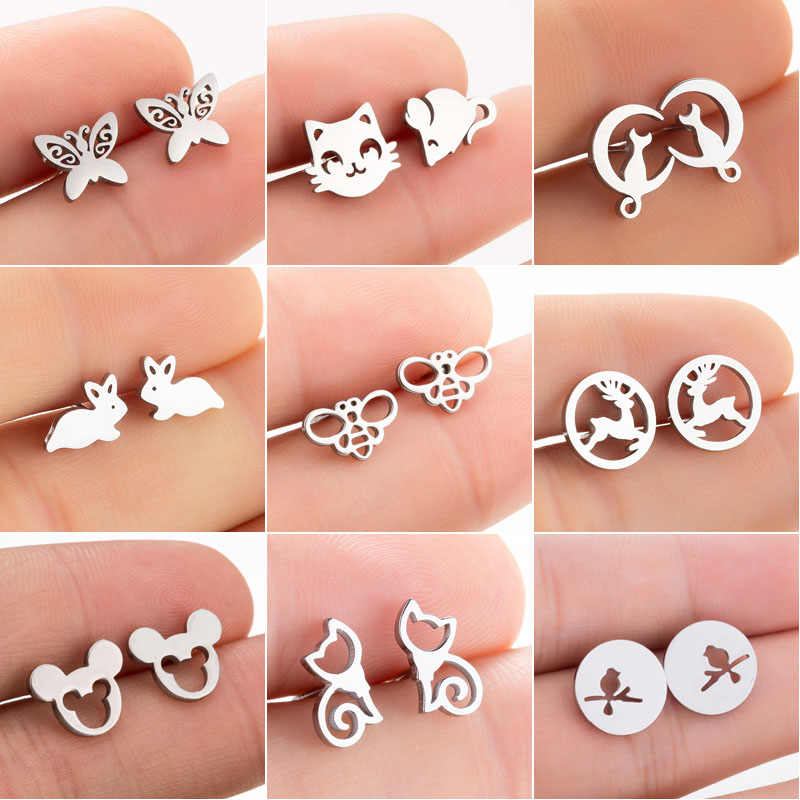 SMJEL Stainless Steel Mickey Stud Earrings for Women Girls Fashion Rabbit Animal Earrings Cat Jewelry Accessories Birthday Gift