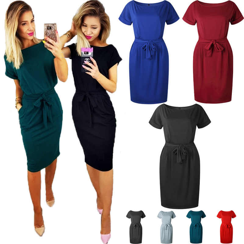 Bandage Bow tie dresses Office Women Round Neck Short Sleeve Loose Comfort Cotton clotheing Plus Size vestidos ropa mujer