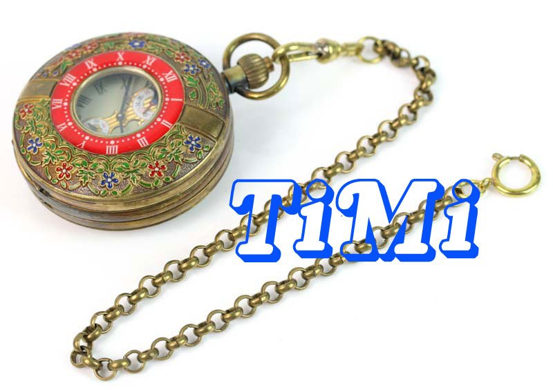 wholesale 55mm ARCHAIZE BRASS Imperial palace ROMAN NUM MECHANICAL POCKET WATCH freeship wholesale unique silver wood roma mechanical pocket watch mi dial freeship