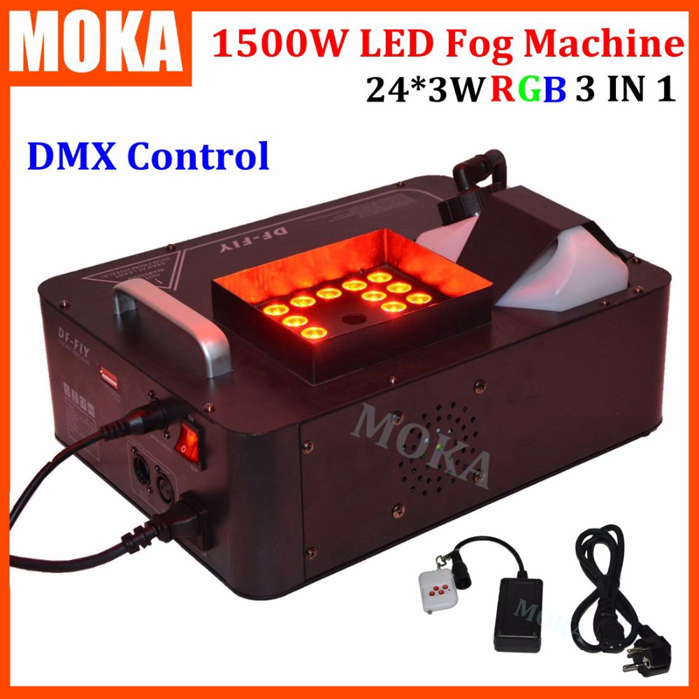 24*3w RGB LED fog machine spraying Vertical smoke machine stage effect Fogger Machine 1500w dmx 512 fog machine 9chs