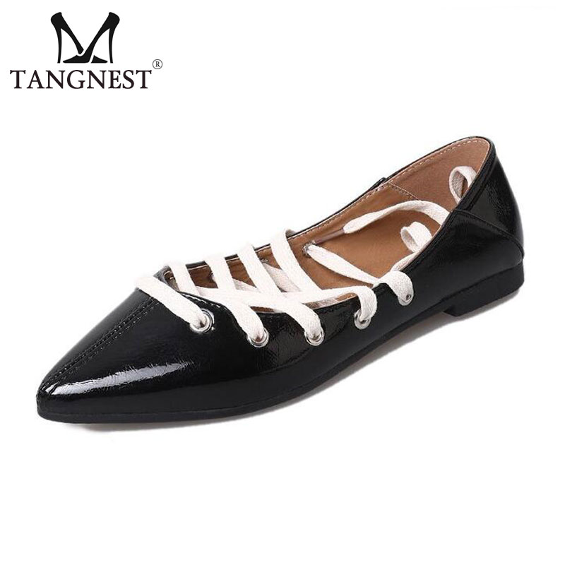 Tangnest NEW Pointed Toe Ballet Flats For Women Fashion Patent Leather Lace Up Flats Casual Cross-tied Flat Shoes Black XWD6527 fashion pointed toe women shoes solid patent pu brand shoes women flats summer style ballet princess shoes for casual crystal