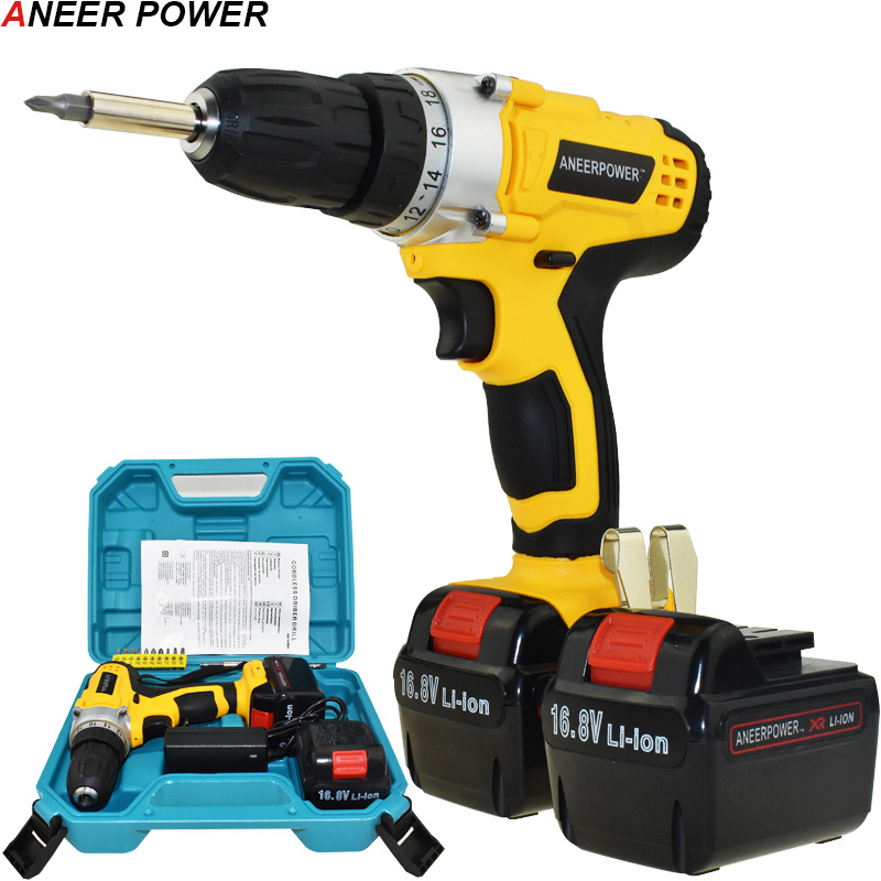 16 8V Screwdriver 2pcs Batteries Electric Drill Power Tools Hand Electric Drill Cordless Drill Rechargable Battery