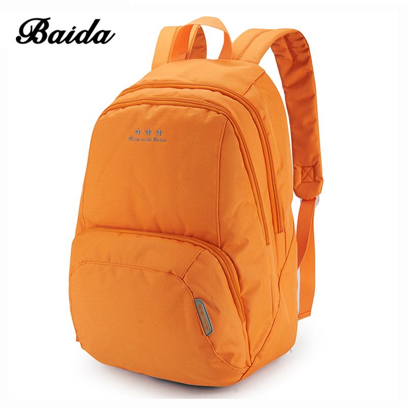 Fashion Women Backpack Mochila Solid Brief Travel Backpack Rucksack for Teenagers Girl Boy BAIDA High Quality School Bag