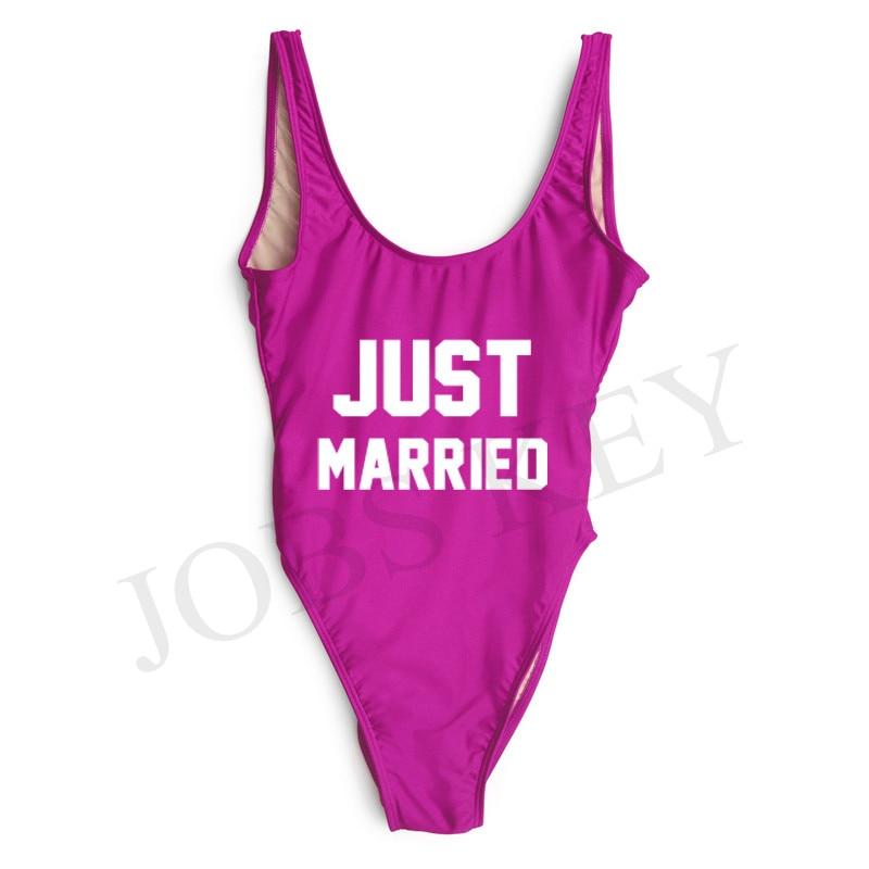 Just Married 2017 Swimsuit Bikini Women One Piece Swimwear Red Bodysuit Bathing Suits Romper Monokini maillot de bain femme une ruffle swimsuit large size swimwear one piece deep v neck strappy bathing suit women maillot de bain femme 2017 une piece