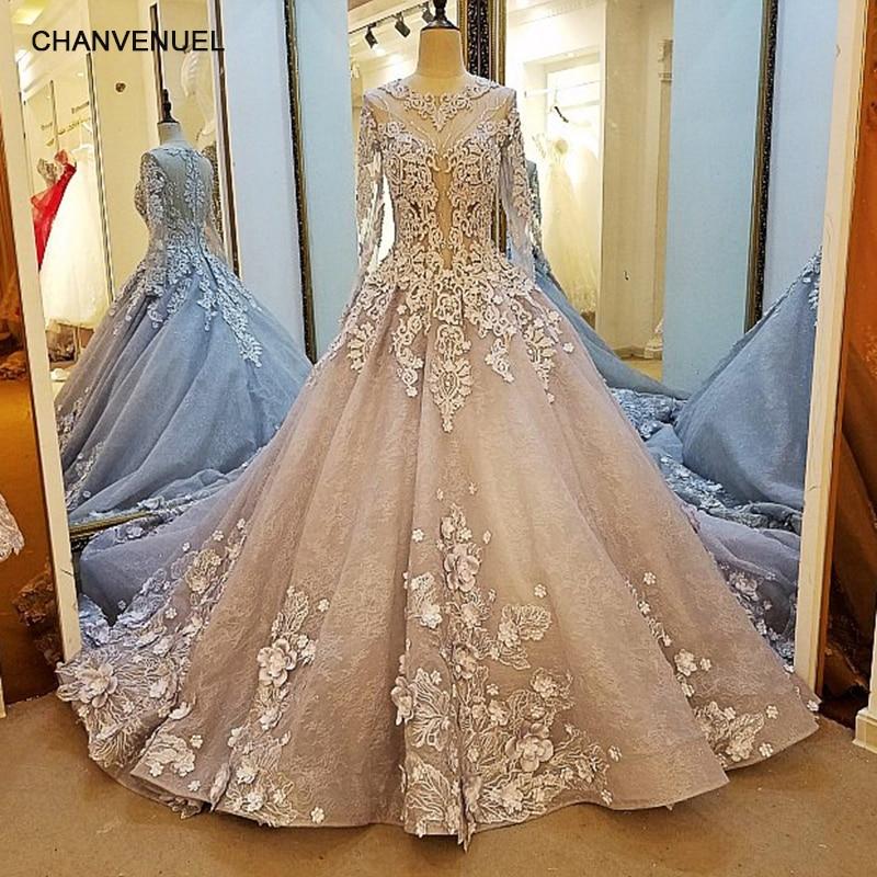 LS38520 long sleeve   evening     dress   lace A line zipper back gray 3D flowers mother of the bride   dresses   abendkleider real photos
