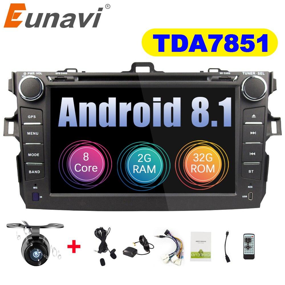 Eunavi Octa core 2 din Android 8.1 dvd de voiture radio stéréo lecteur gps pour Toyota Corolla 2007 2008 2009 2010 2011 écran capacitif