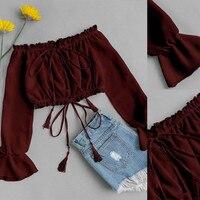 Été femmes Sexy hors épaule en mousseline de soie à manches longues impression florale T-Shirt offre spéciale printemps hauts courts à la mode 2019 vêtements